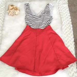 Papaya nautical contrast dress w/cutout crisscross
